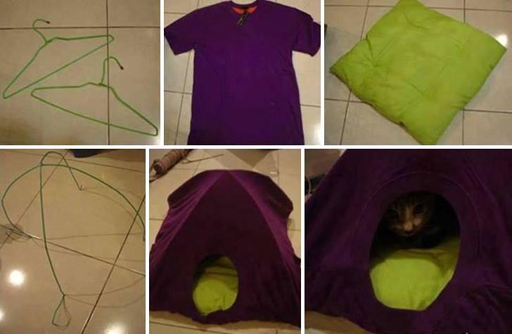Tolles Katzenversteck aus Kleiderbügeln und t-Shirt