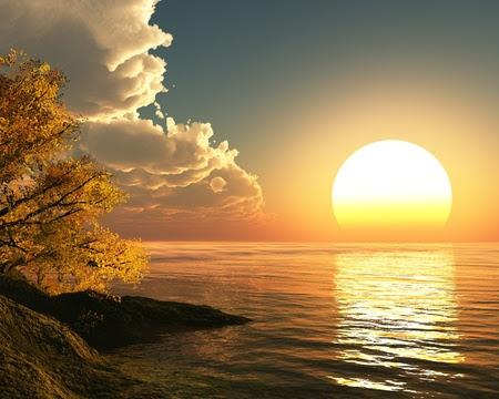 wunderschoener sonnenuntergang am meer